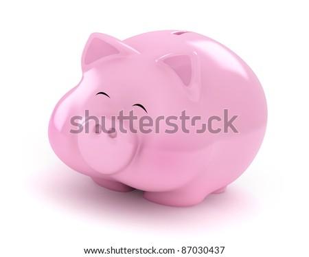 3D Illustration of a Fat Happy Piggy Bank