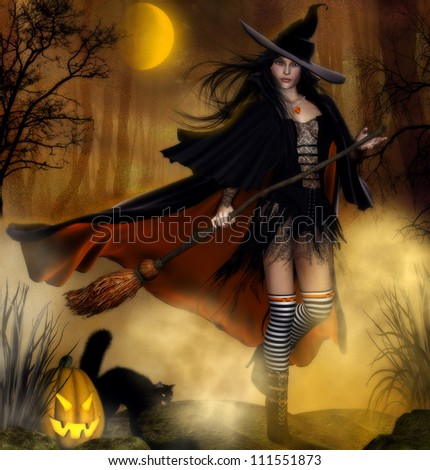 3d illustration of a female witch wearing a black dress and black cloak and witches hat holding a broomstick.  Forest background with mist, a pumpkin and a black cat and spooky trees.