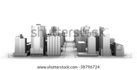 3d illustration of a fictional city.