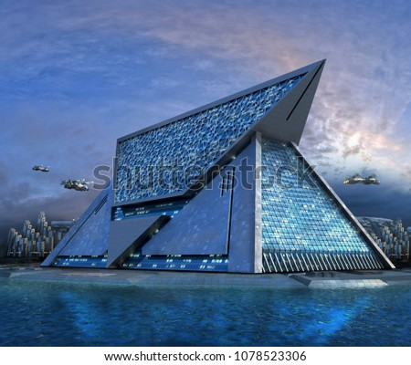 3D Illustration of a futuristic building, in a technologist, triangular shaped architecture, surrounded by water, for science fiction or video games backgrounds.