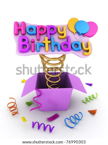 3D Illustration of a Gift Box with a Pop-up Happy Birthday Message