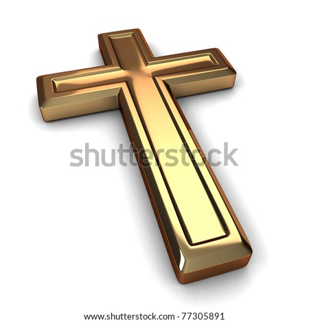 3D Illustration of a Gilded Cross