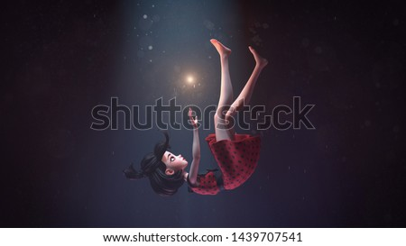 3d illustration of a girl in a retro dress falling down in deep space with stars. Young cartoon woman hovering in air. Girl in the dark extends hand to the shining star. Space art. Deep dream concept.