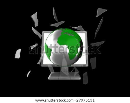 3d illustration of a globe smashing through a computer or tv screen.