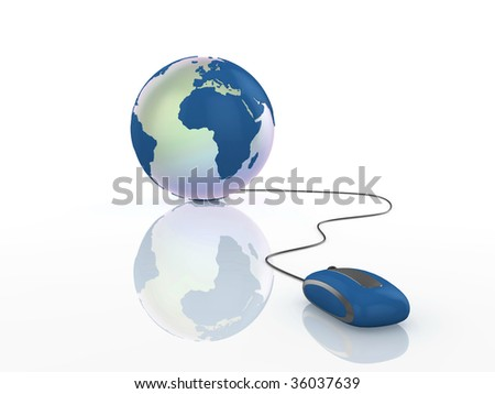 3d illustration of a globe with mouse on reflective surface.