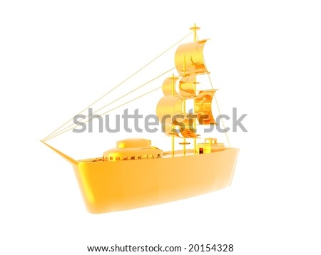 3D illustration of a golden ship isolated