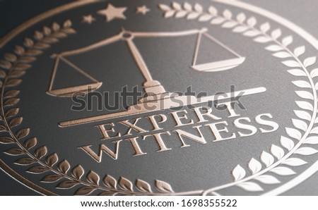 3D illustration of a golden stamp where it is written the text expert witness. Legal expertise. Foto d'archivio ©