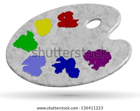 3d illustration of a gray marble painters palette / Painter palette