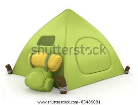 3D Illustration of a Green Tent