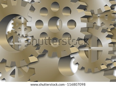 3d illustration of a group of different metal gear wheels and cogs / Gear wheels and cogs