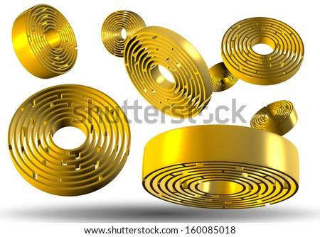 3D illustration of a group of golden round labyrinths suspended in the air / Labyrinths