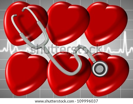 3D illustration of a group of hearts with a stethoscope and ECG in the background / heart health