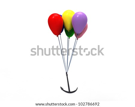 3d illustration of a group of multicolored balloons that pulls an anchor