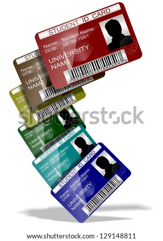 3d illustration of a group of student ID cards suspended in the air / Student ID cards