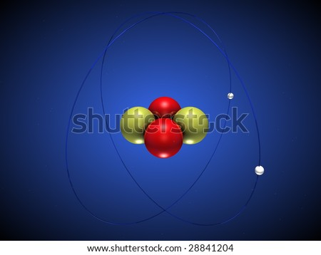 3D illustration of a helium atom with electrons around the nucleus