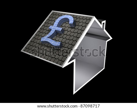 3d illustration of a home symbol with pound currency solar panel