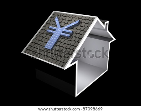3d illustration of a home symbol with yen currency solar panel