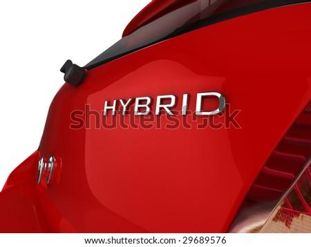 3d illustration of a Hybrid badge on the rear of a generic hatchback car
