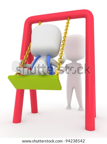 3D Illustration of a Kid Being Pushed on a Swing