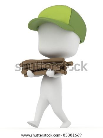 3D Illustration of a Kid Camper gathering Firewood