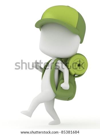 3D Illustration of a Kid Camper Walking / Marching
