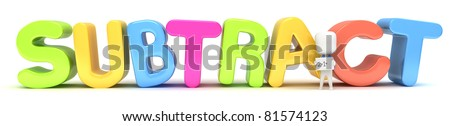 3D Illustration of a Kid Holding a Flash Card against the word Subtract