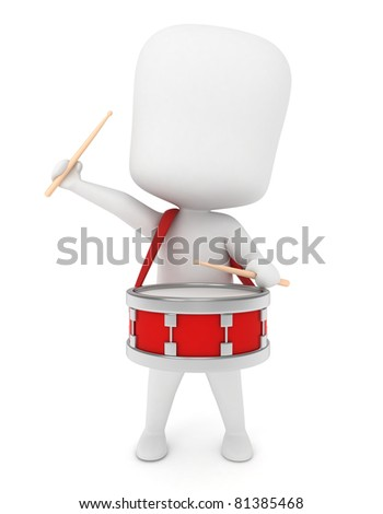 3D Illustration of a Kid Playing with a Drum