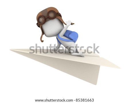 3D Illustration of a Kid Riding a Paper Plane