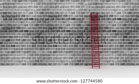 3d illustration of a ladder against near old wall with space for text