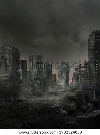 3d illustration of a lifeless ruined cityscape. Stockfoto ©