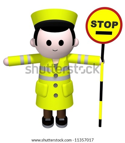 stock photo : 3D illustration of a lollipop man holding a stop sign