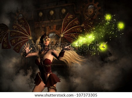 3D illustration of a magical female character with long blond hair, bright lime green eyes wearing a Steampunk flight outfit with mechanical wings.  She is releasing tiny mechanical dragonflies.