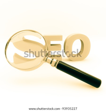 3d illustration of a magnify glass on a seo word