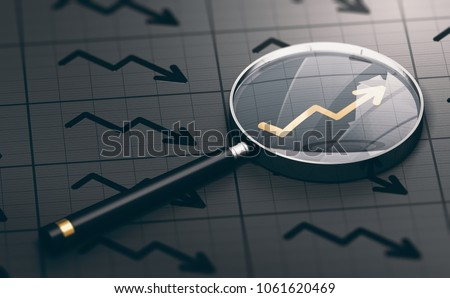 3D illustration of a magnifying glass over a golden positive chart symbol. Concept of investing opportunities and excellent investment.
