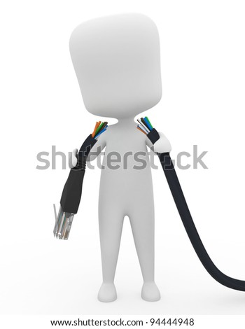 3D Illustration of a Man Holding a Torn Cable - stock photo