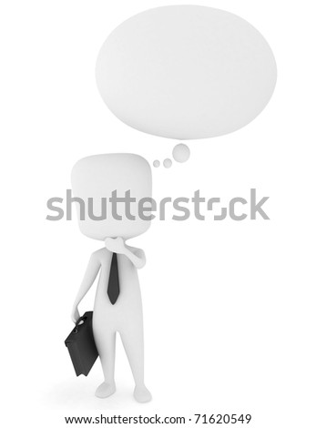 3D Illustration of a Man Scratching His Chin While Thinking
