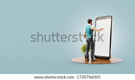 3d illustration of a man standing in fron of big smartphone in office and touching smart phone screen. Smartphone apps concept.
