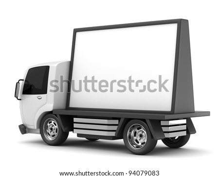 3D Illustration of a Mobile Billboard