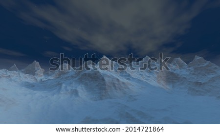 3D illustration of a mountain in ether world at night, ether mountain, Surface of ether world, 3d render Photo stock ©