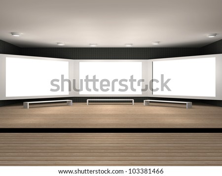 3d illustration of a museum room with 3 big frames