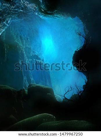 3D illustration of a mysterious underworld castle Photo stock ©