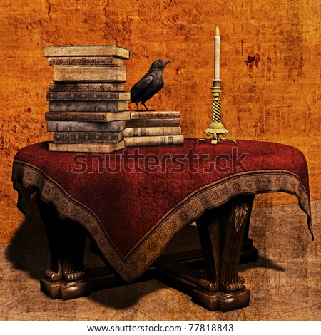 3D Illustration of a mysterious vintage table piled with books, a candlestick and a raven
