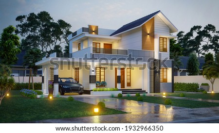 3d illustration of a newly built luxury home. Сток-фото ©