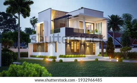 3d illustration of a newly built luxury home. Stock fotó ©