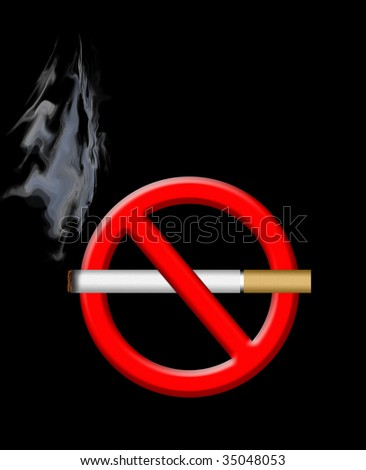 3D illustration of a No Smoking sign.