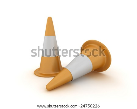 3d illustration of a pair of traffic cones.