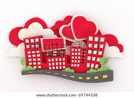 3D Illustration of a Paper Sculpture of a Mini City with Heart-shaped Clouds in the Background