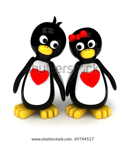 3D Illustration of a Penguin Couple Holding Hands While Walking Side by Side - stock photo