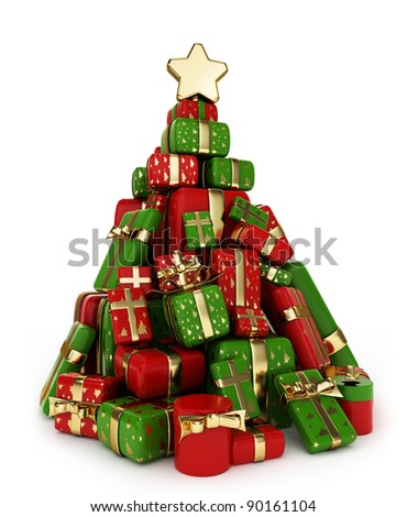 3D Illustration of a Pile of Gifts Shaped Like a Christmas Tree - stock photo
