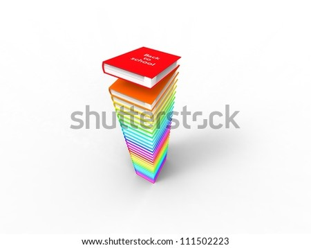 3d illustration of a pile of multicolored books with back to school written on it